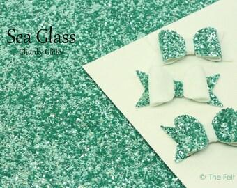 "Chunky Glitter Fabric Sheet / Coarse Glitter Canvas / Aqua Glitter (""SEA GLASS"") / Sparkly Fabric / DIY Glitter Bows and Hair Accessories"