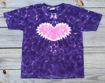 Girls Purple Heart Tie Dye Tshirt, S M L XL, Girls Tie Dye Shirt, Valentine's Day Top, Purple and Pink Tie Dye, Tie Dye Tee