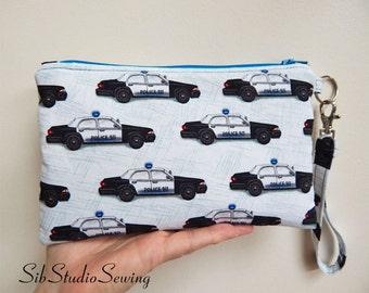 "Police Smartphone Clutch, 9 x 5.5 inches, Fits iPhone 6 & 7 Plus, Smartphone up to 6.8"" Length, Pockets, Police Car Cell Phone Wristlet"