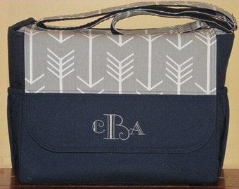 Handmade Arrow Print & Navy Messenger Style Diaper Bag