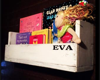 Bookshelf, Personalized, Shelf, Reclaimed Wood, Children, Nursery, Girls, Boys, Bathroom Shelf,  Room Decor, Distressed White, Wall Hanging