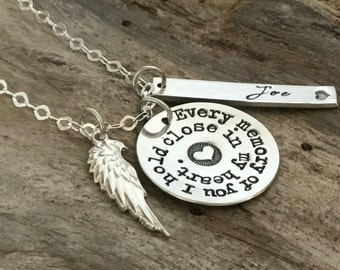 PERSONALIZED Memorial Gift. Memorial Necklace. Sympathy gift. Remembrance Jewelry. STERLING SILVER. Memorial Jewelry. Loss of loved one.