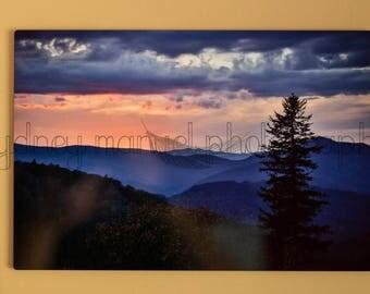 Blue Ridge Mountain Sunset Landscape Metal Print