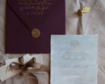 Blue Sky with Gold Calligraphy Invite with Envelopes