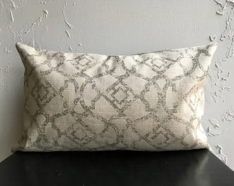 Gray Decorative Pillow Cover, 12x20 Marrakesh Lumbar Pillow Covers, Distressed Throw Pillows