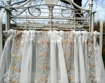 "White Sheer Single Panel~Yellow Orange Floral embroidery~  58"" x 85"""