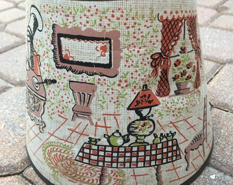 Vintage Country Scene Lamp Shade Lampshade Cabin Cottage Decor