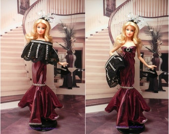Evening dress for barbie doll