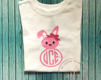 Monogram easter shirt  / easter shirt / girls easter shirt / monogram shirt / easter / monogram shirt / easter bunny shirt / vinyl shirts /