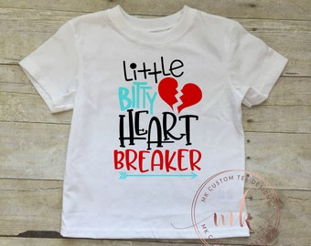 Little Bitty Heart Breaker-Heart Breaker Shirt - Valentine Shirt- Toddler Valentine - Boy Valentine Shirt- Boy Valentine Outfit -