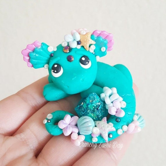 "OOAK ""Coral"" Baby Dragon, Polymer Clay Dragon Figurine, Collectable, Miniature, Polymer Clay, Dragon, Fantasy"