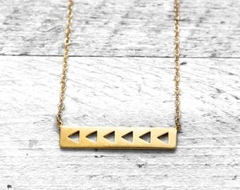 Trimi necklace with triangles | gold
