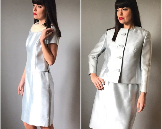 Vintage 60s Ice Blue Suiting Seperates 3  Pieces