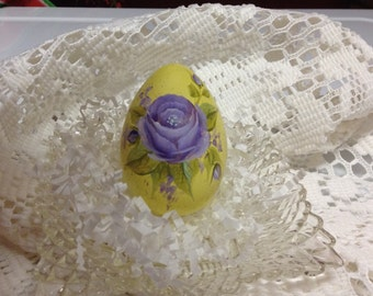 Hand Painted Easter Hen Egg yellow with pretty purple rose and rosebuds delicate shabby chic Easter decor one of a kind collectable signed