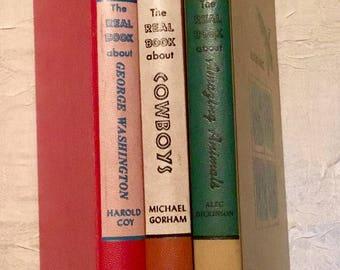 "Vintage 1950s ""A Real Book Three Book Set"" Children's Books (Animals, Cowboys, George Washington)"