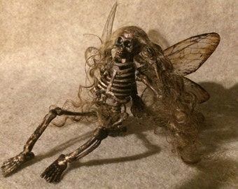 Dead Fairy Goth art doll miniature Halloween skeleton pixie dollhouse cicada wings Renaissance faire ooak costume accessory