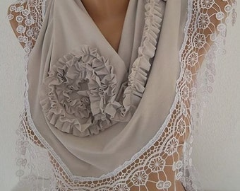 Light Grey Rose Scarf Christmas Gift Holiday Gift Scarf with Lace Edge Winter Women Fashion Accessories Christmas Gift For Her