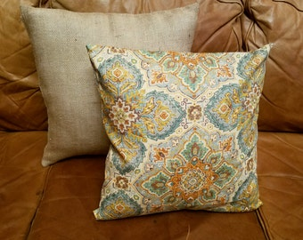 Brown,Green, Blue & Yellow Persian Medallion Print Pillow Cover - Various Sizes