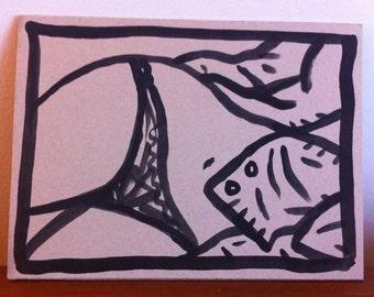 dessin original, original artwork, erotic sexy Girl - Body&soul