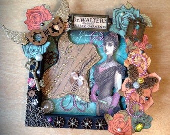 Steampunk Victorian Corset Shadow Box Picture