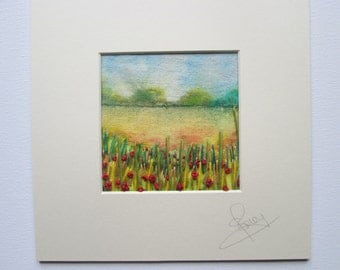 textile art, embroidery and fabric paint, poppy field, ready to frame
