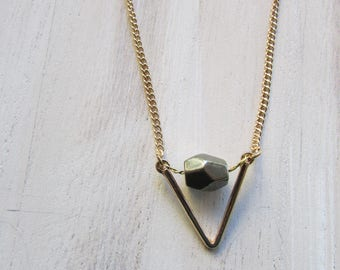 Faceted Pyrite Bead Necklace