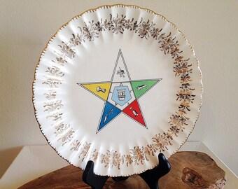Vintage 1960s Eastern Star Womens Masonic Order Decorative Plate