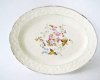 Vintage China, Vintage Floral Platter, Oval Floral Platter, Decorative Platter, Vintage Floral Oval Platter