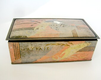 Vintage Mayfair Candy Tin, Vintage Tin, Candy Tin, Mayfair Candy, Norris Candy, Vintage Tin Box, Vintage Lidded Tin Box, Art Deco Style tin