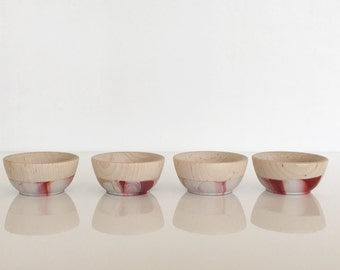 Mini Pinch bowls (set of 4), ring cup, color dipped bowls, slip resistant rubber by Willful