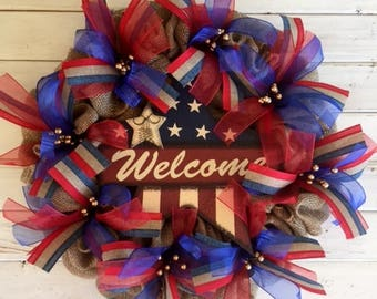 4th of July Welcome Burlap Wreath--Patriotic Ribbon Wreath--Front Door Fourth of July Wreath--Red White and Blue Wreath