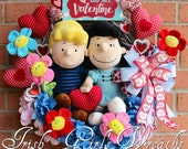 Peanuts Wreath, Valentine Wreath, Lucy and Schroeder Be My Valentine Wreath, Spring Wreath, Peanuts Valentine Decor, Plush Hearts