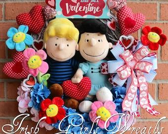 Peanuts Valentine Wreath, Lucy and Schroeder Be My Valentine Wreath, LAST ONE, Spring Wreath, Peanuts Valentine Decor