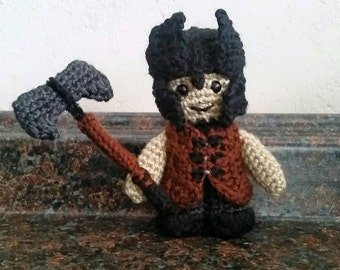 Crochet Medieval Barbarian Knight Figure with Axe, Tunic and Helmet Stuffed Animal Plush LARP Cosplay Character Doll