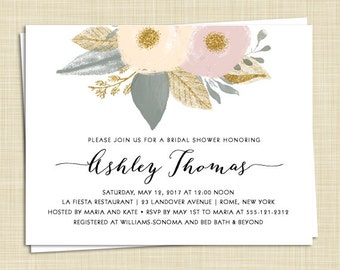 10 Peony Bridal Shower Invitations - Watercolor Flowers - set of 10 / PRINTED