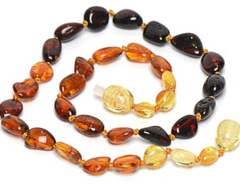 Colorful Amber Baby Teething Necklace - Safety Knotted - Genuine Baltic Amber from Lithuania