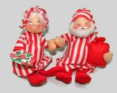 Annalee Mobilitee Santa and Mrs. Claus 1967 Dolls, Santa in Night Shirt with Hot Water Bottle, Mrs. Claus with Plate for Cookies