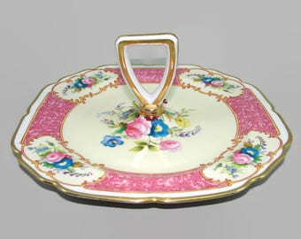 Noritake Center Handle Square Serving Plate, Hand Painted Pink and Blue Floral Server, Dessert Plate, Bon Bon Candy Dish