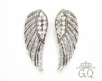 "Silver Wing Plugs / Gauges. 2g / 6.5mm, 0g / 8mm, 00g / 10mm, 1/2"" / 12mm, 9/16"" / 14mm"