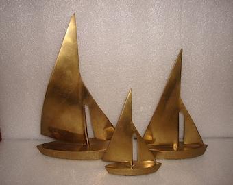 Set Of Three Solid Brass Sailing Ships / Brass Decor / Nautical Decor
