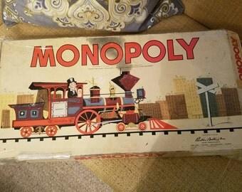 Monopoly 1954 board game, vintage, shoe, hat