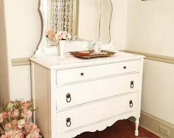 White Vintage Dresser with Tiara Mirror