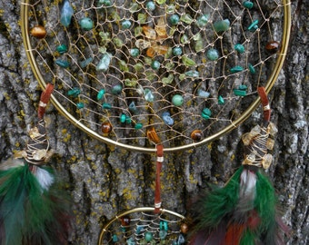 Evergreen Hand-Woven Gold Bohemian Tribal Double Dream Catcher by The Emerald Lotus