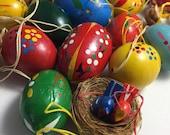 Wood Easter Eggs / 24 Vintage Erzgebirge German Painted Easter Eggs with 6 Mini wooden Birds in Nest