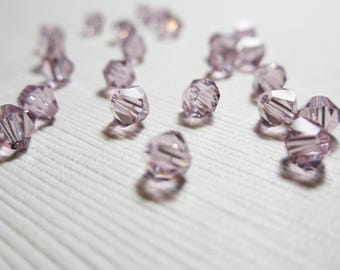Swarovski Crystal 5328 Faceted Bicone 4mm Light Amethyst - 20 BEADS