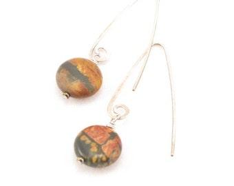 Earrings-Jasper coins-handmade earring finding-sterling silver Marquis-BOHO-Minimalist-modern-dainty-rustic-simple-contemporary