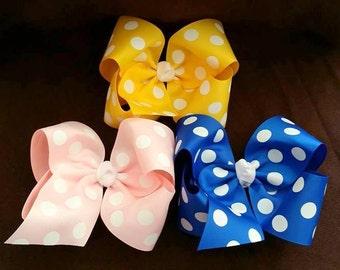 Large Polka Dot Hair Bow....Large Polka Dot Bow...Polka dot bow...pink polka dot bow...yellow polka dot bow...royal polka dot bow