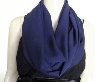 Cute Navy Blue Scarf.Circle Scarf.Loop Scarf.Chiffon Scarf