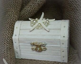 Beach Wedding Treasure Chest Wood Ring Bearer Box With White Starfish and Pearls - For Beach Theme Weddings - Hamdmade