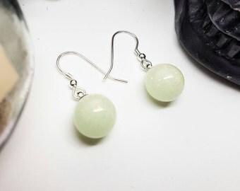 Glitter sphere, glow in the dark, night glow, glitter, sparkly earrings, glitter resin, sterling silver, silver earrings